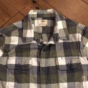 🛹VANS l/s plaid flannel button up size S